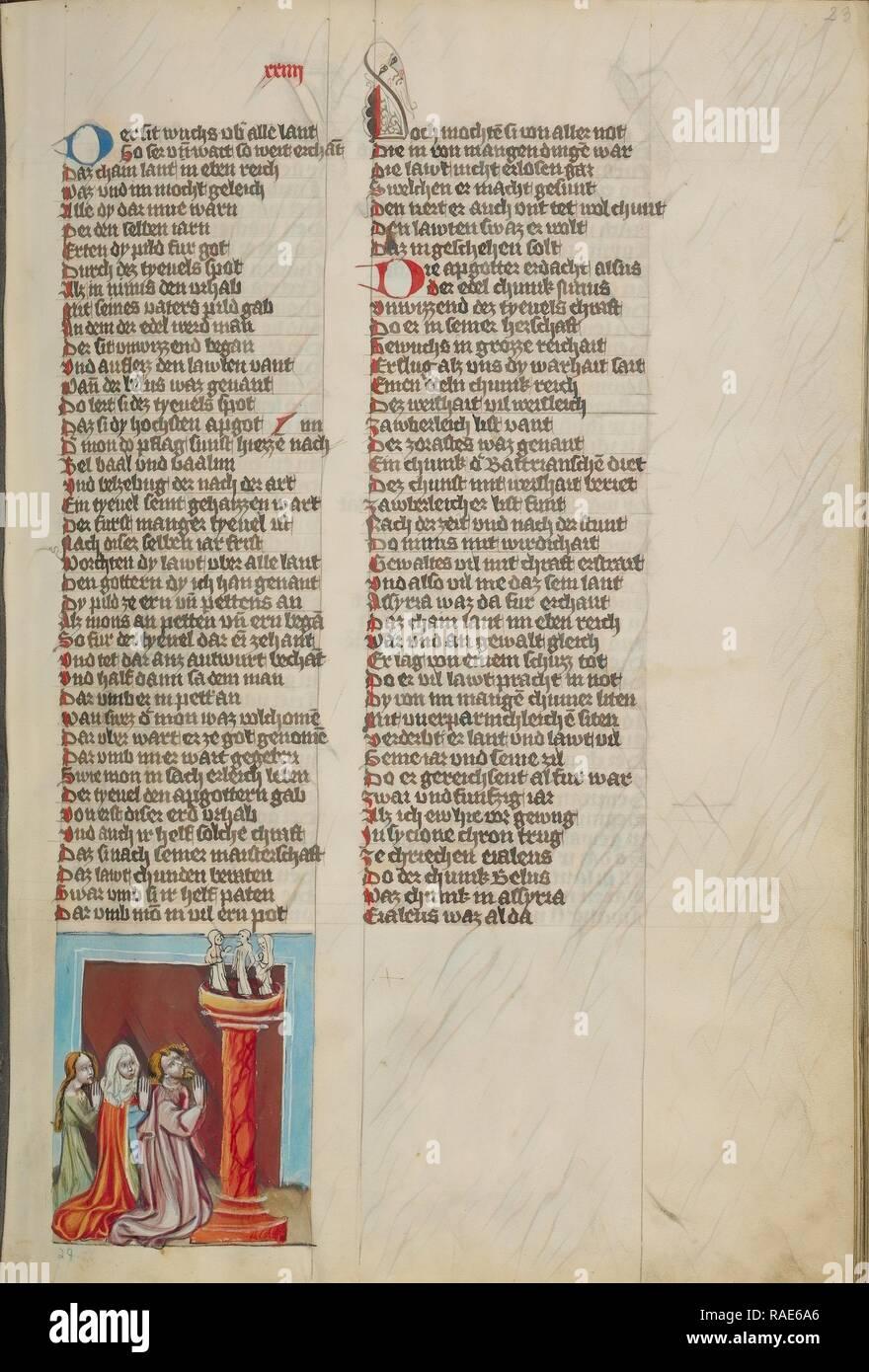 L'idolatria del Ninus, Regensburg, Baviera, Germania, circa 1400 - 1410, tempere, oro, vernice argento e inchiostro reinventato Foto Stock