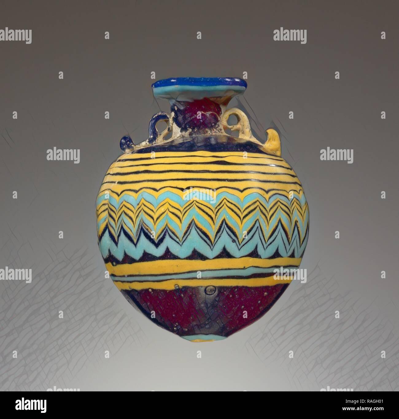 Aryballos, Grecia, 6° - 4° secolo a.C, vetro, 7,2 cm (2 13,16 in.). Reinventato da Gibon. Arte Classica con un moderno reinventato Immagini Stock