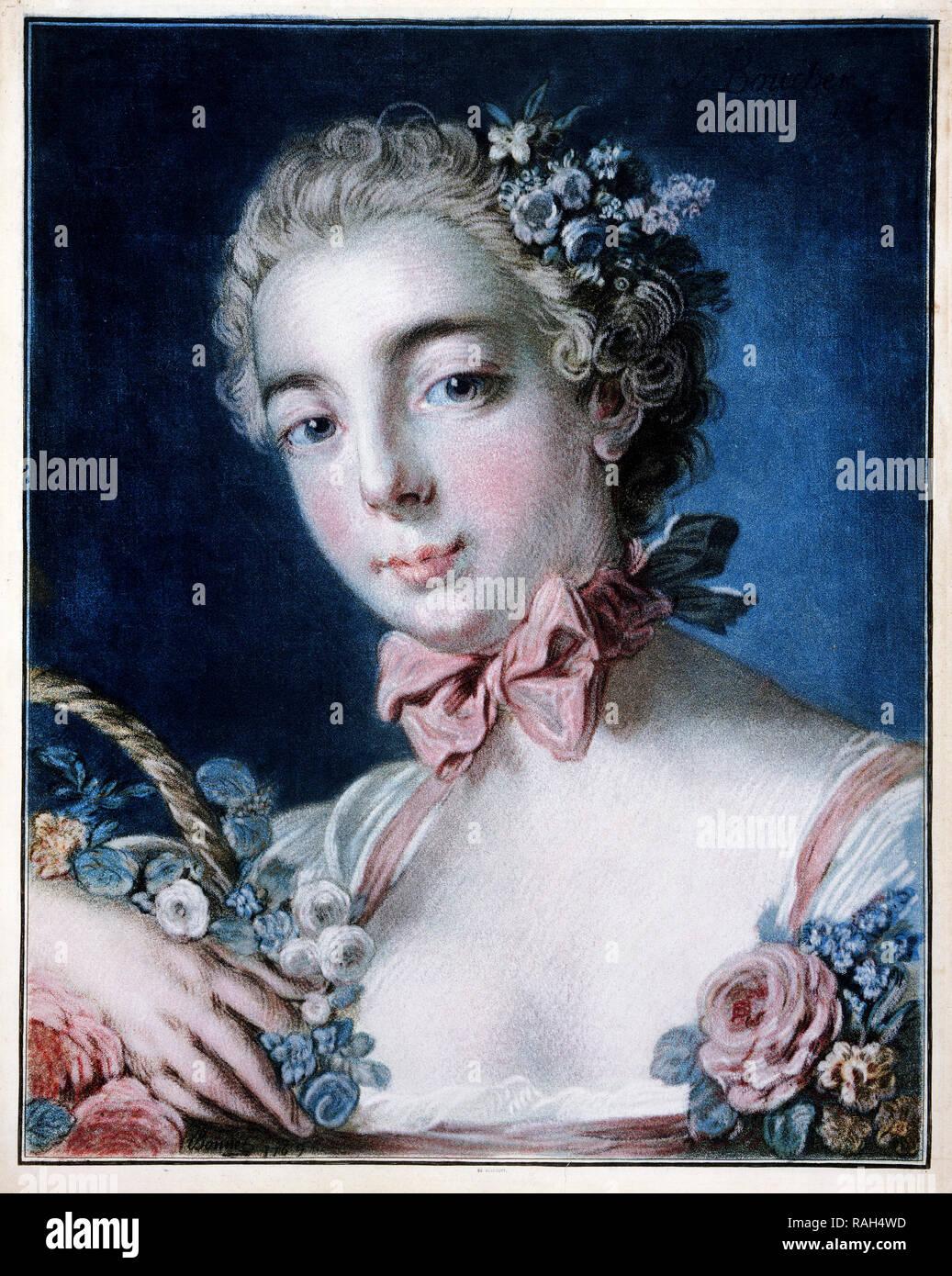 Cofano Louis-Marin, testa di Flora 1769 pastello-modo incisione stampata a colori da otto piastre, Philadelphia Museum of Art, STATI UNITI D'AMERICA. Immagini Stock