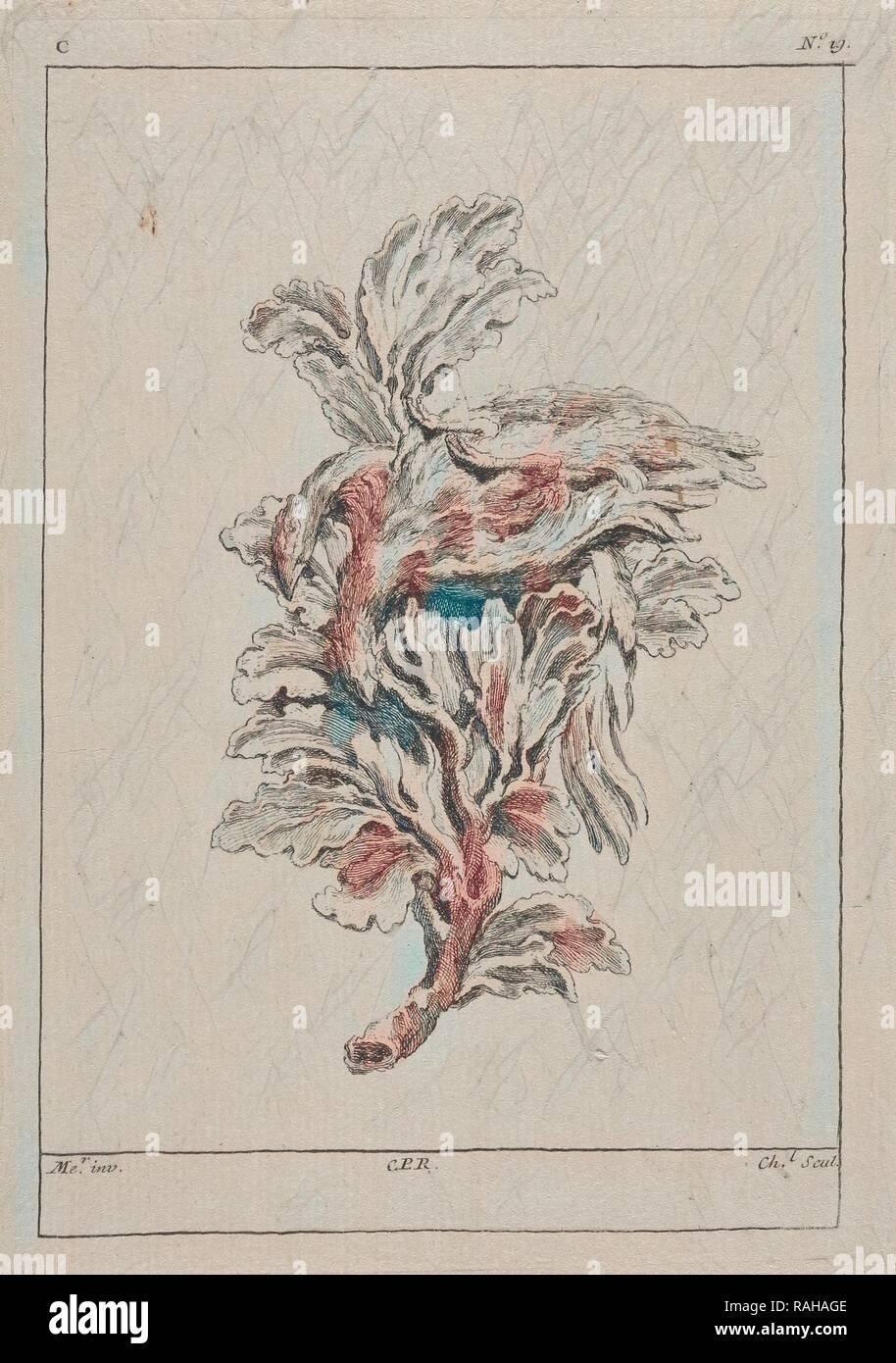 Piastra C19 dal Livre de légumes inventées et dessinées par J. Me.r, Chedel, Pierre Quentin, 1705-1763, Huquier reinventato Immagini Stock