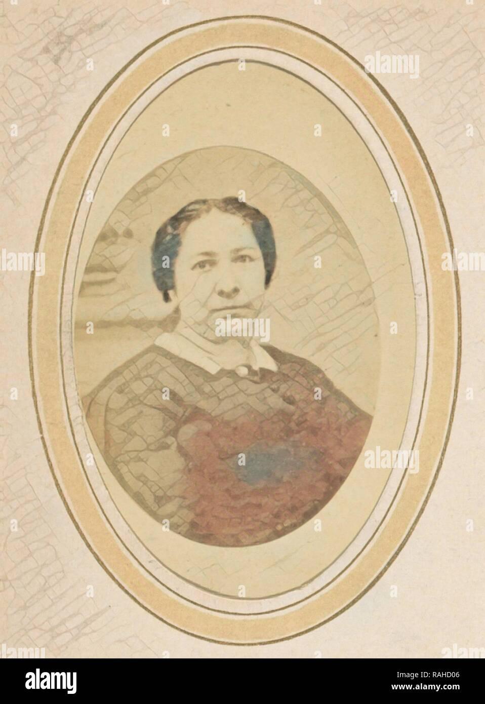 Ritratto di una donna con capelli upswept ed un colletto bianco, Johan Hendrik Hoffmeister, c. 1869 - 1874. Reinventato Immagini Stock
