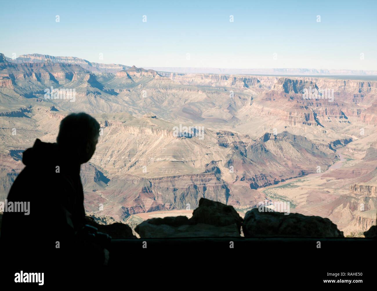 Silhouette di uomo che guarda al Grand Canyon dalla torre di avvistamento al Desert View lookout Immagini Stock