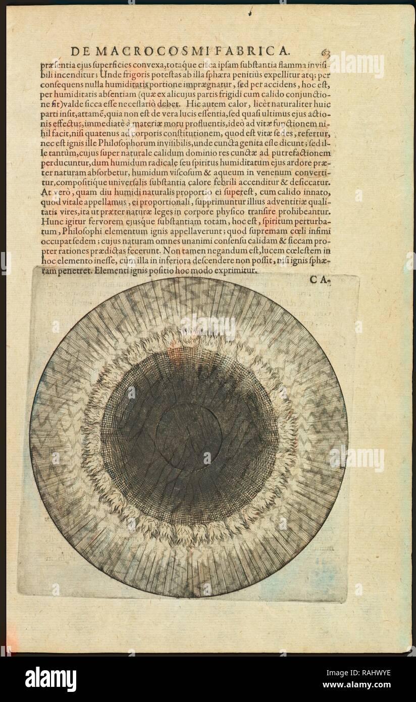 De elemento ignis, Utriusque cosmi maioris scilicet et minoris metaphysica, physica atqve technica historia, Fludd reinventato Immagini Stock