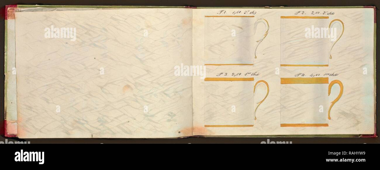 Honoré porcellana catalogo campione, Honoré (Azienda), secolo XIX, acquerello, gouache, inchiostro, grafite, ca. 1800-1820, la reinventato Immagini Stock