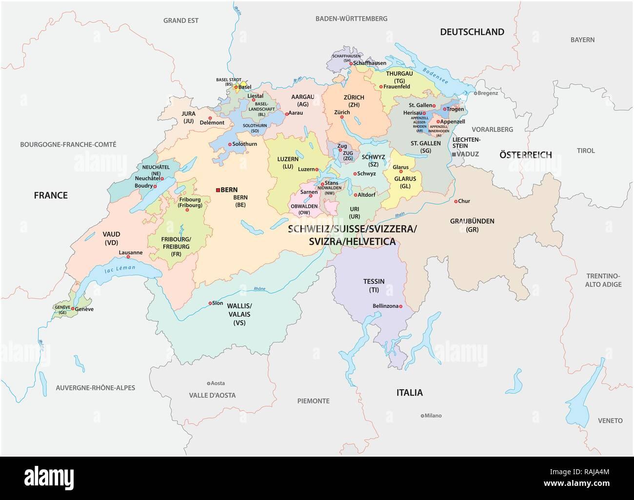 Cartina Geografica Politica Svizzera.Politica E Amministrativa Di Mappa Vettoriale Della Svizzera Immagine E Vettoriale Alamy