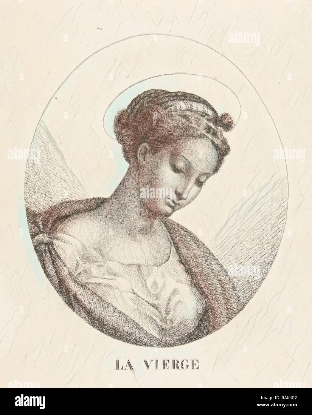 Busto di Maria in ovale, François Deleu, 1800 - 1899. Reinventato da Gibon. Arte Classica con un tocco di moderno reinventato Immagini Stock