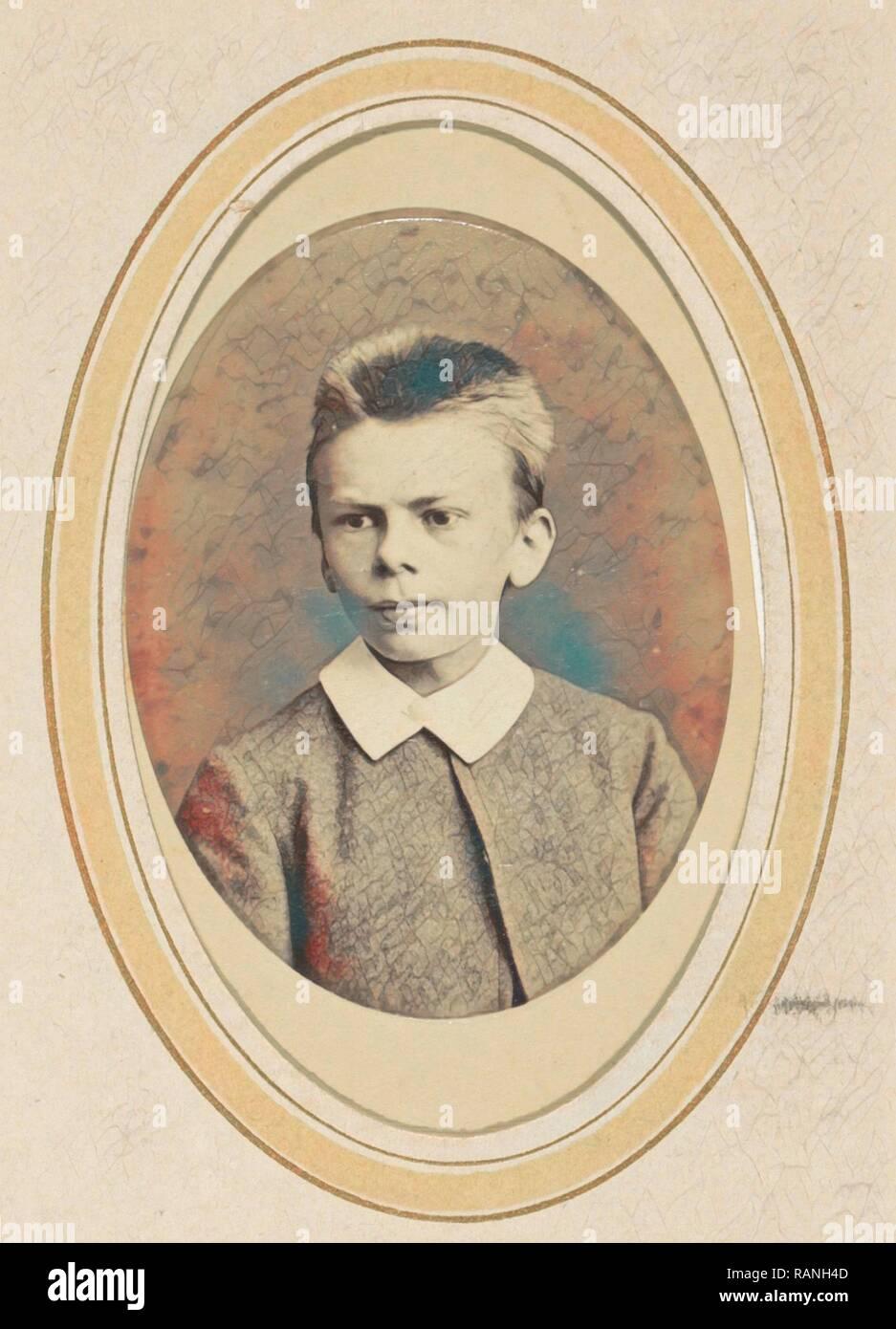 Ritratto di un ragazzo con un colletto bianco, J.C. Reesinck, 1866 - c. 1900. Reinventato da Gibon. Arte Classica con un moderno reinventato Immagini Stock