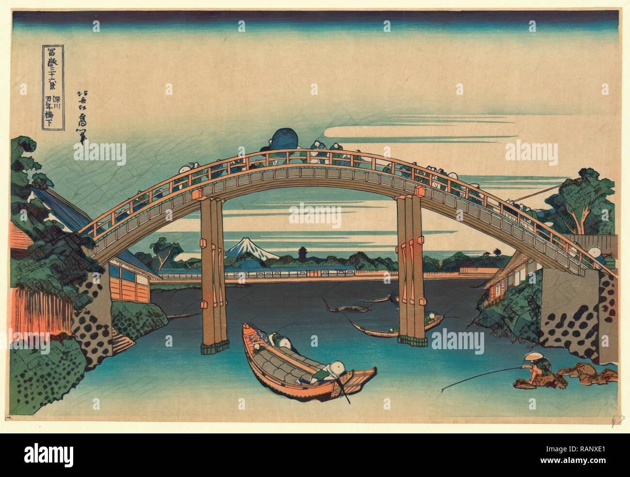 Fukagawa Mannenbashi Shita, al di sotto del ponte Mannen 1760-1849, [tra il 1826 e il 1833, stampato in seguito], 1 Stampa: Xilografia reinventato Foto Stock