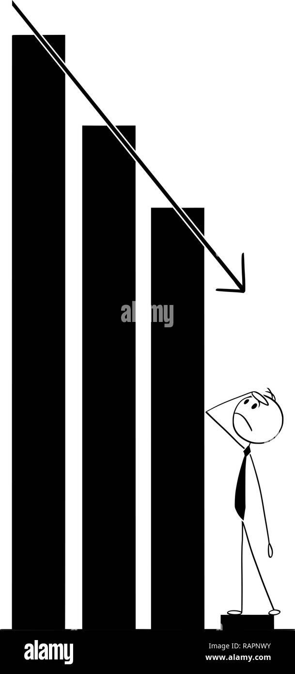 Cartoon di imprenditore a guardare il declino del grafico Immagini Stock