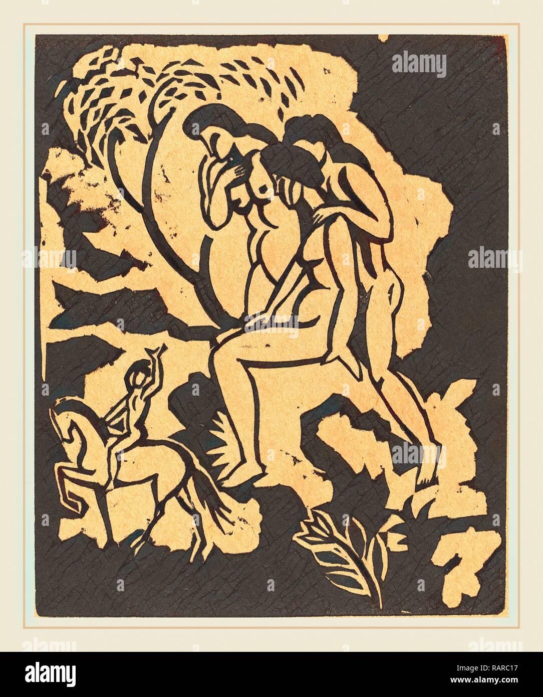 August Macke, Begrüssung (saluto), Tedesco, 1887-1914, xilografia in nero su carta marrone chiaro. Reinventato da Gibon. Classic reinventato Immagini Stock