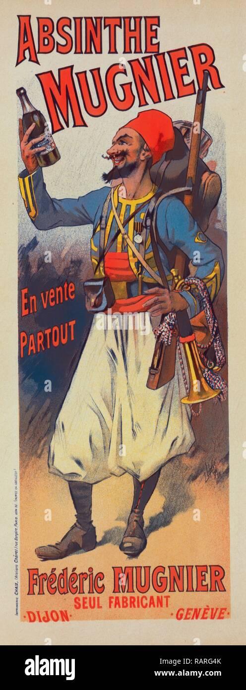 Poster per l' Assenzio Mugnier. Lucien Lefevre 1850 Francia, espone al Salon des indipendenti a Parigi nel 1872 reinventato Foto Stock