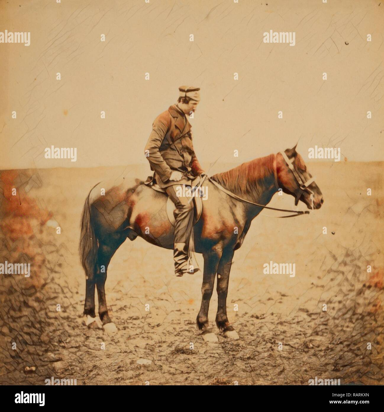 Gli onorevoli grandi Cathcart, Dep. Come. Adj. Generale alla Divisione Luce, Guerra di Crimea, 1853-1856, Roger Fenton reinventato Immagini Stock