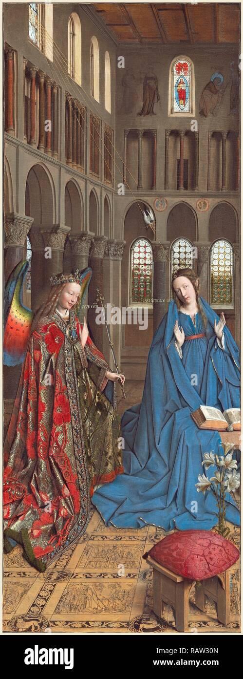 Jan van Eyck (Netherlandish, c. 1390-1441), l'Annunciazione, c. 1434-1436, olio su tela trasferito dal pannello reinventato Immagini Stock