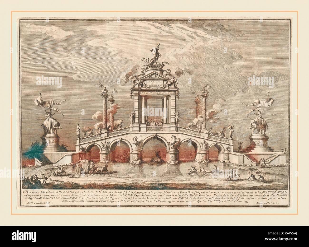 Giuseppe Vasi dopo Paolo Posi (architetto), un ponte trionfale ornato con le reliquie della città di Ercolano, Italiano reinventato Immagini Stock