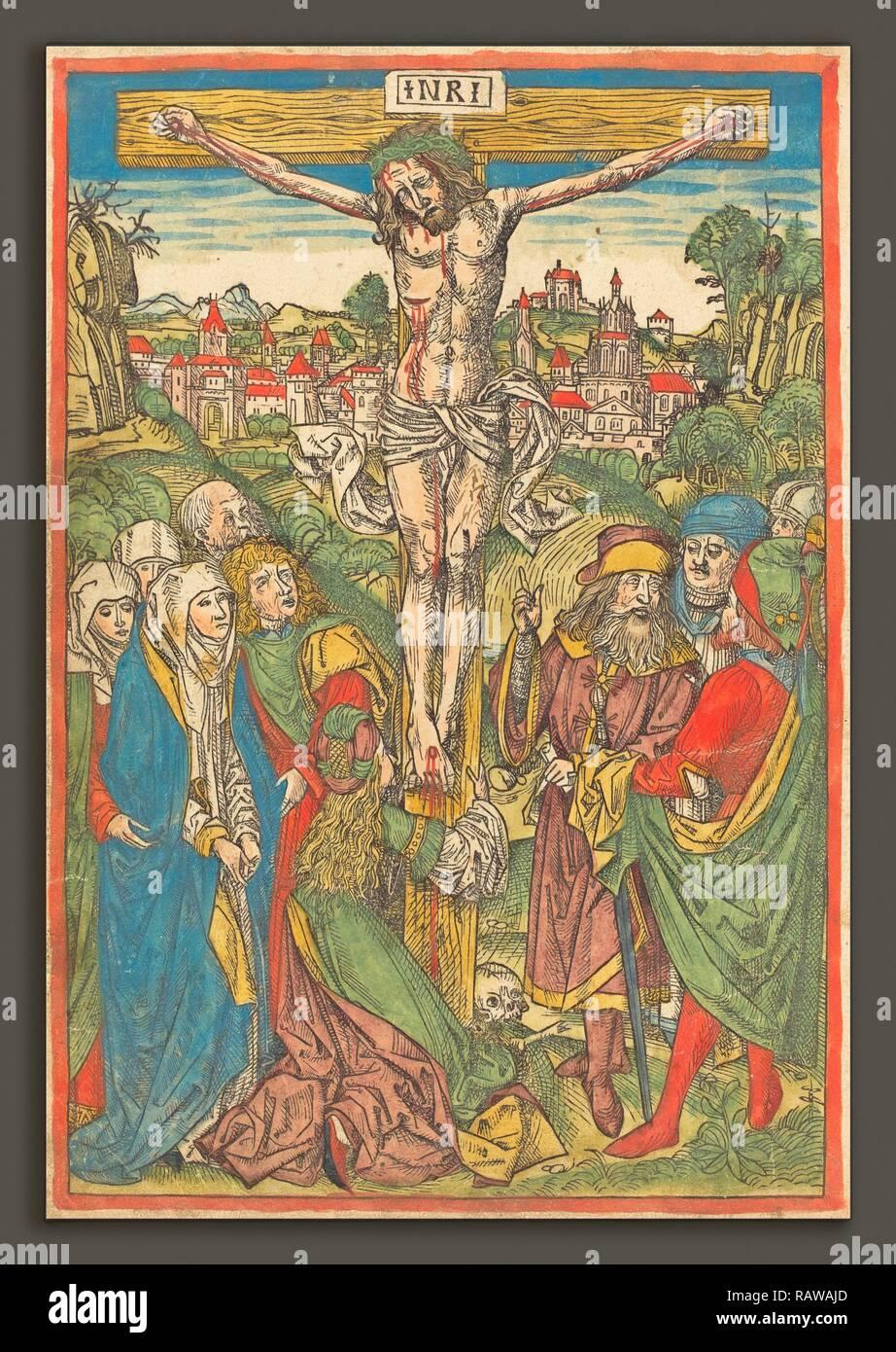Attribuito a Michael Wolgemut (tedesco, 1434 - 1519), la Crocifissione con Santa Maria Maddalena, c. 1490, mano- reinventato Immagini Stock