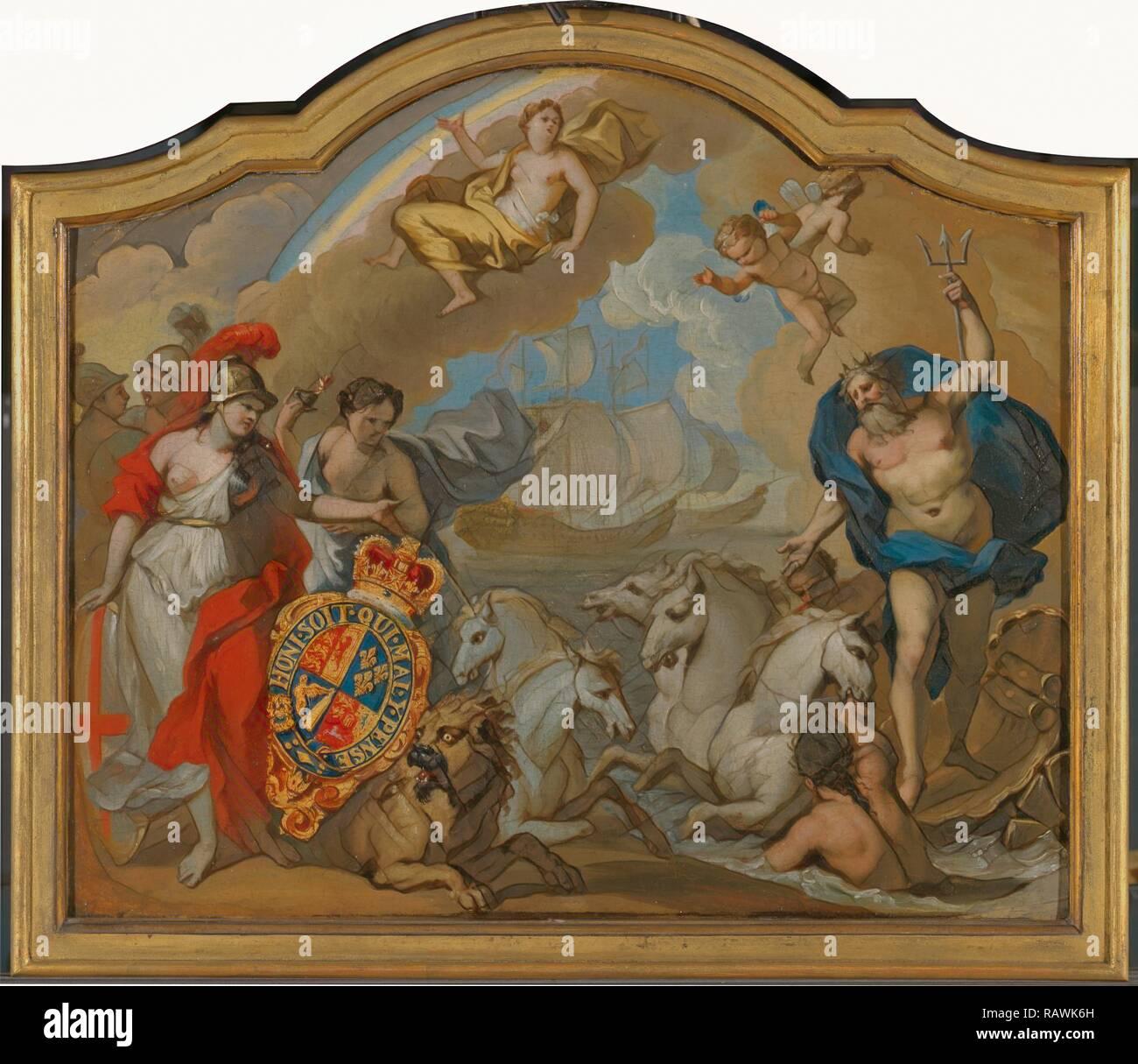 Allegoria della potenza della Gran Bretagna dal mare, la progettazione di un pannello decorativo per George I pullman cerimoniale reinventato Immagini Stock
