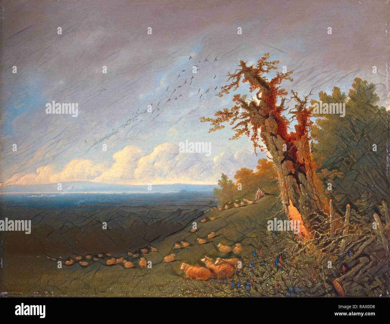 Pastorello sul pendio di una collina, William Turner di Oxford, 1789-1862, British. Reinventato da Gibon. Arte Classica con un reinventato Immagini Stock