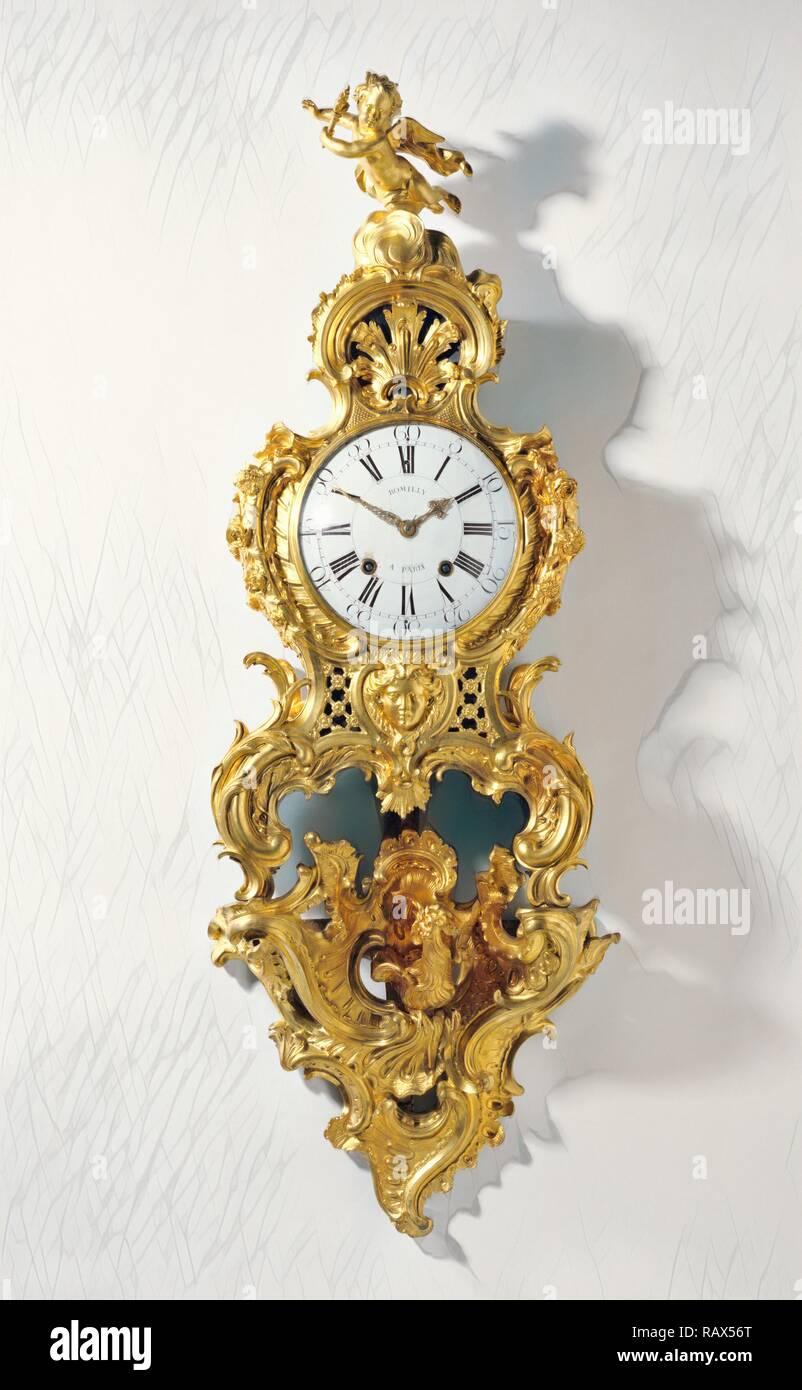 Orologio sulla staffa (cartello sur une console), Movimento di orologio da Jean Romilly, francese, 1714 - 1796, master 1752, Caso reinventato Immagini Stock