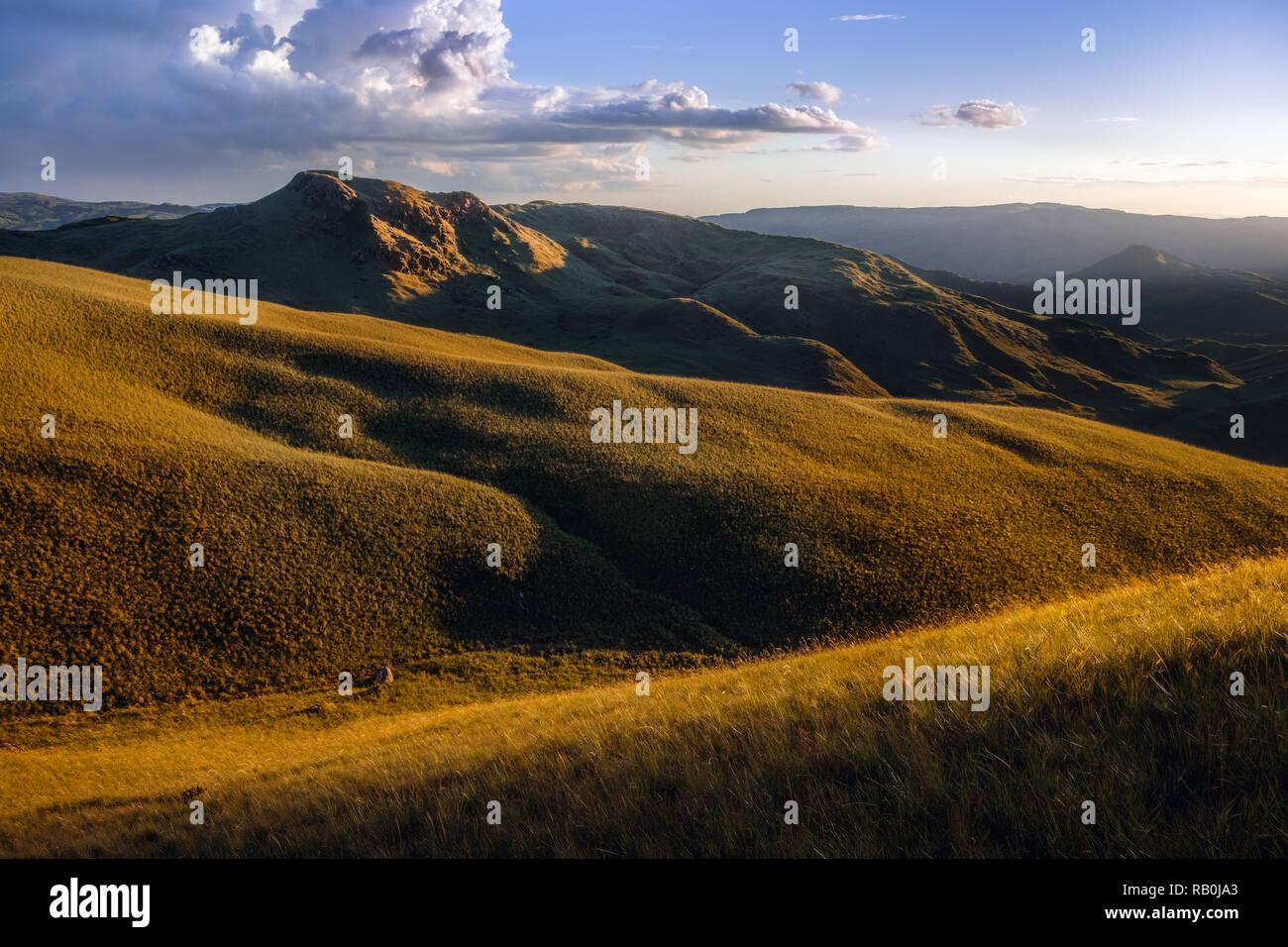 Golden ore di luce che bagna le montagne di Calobre, Panama Immagini Stock