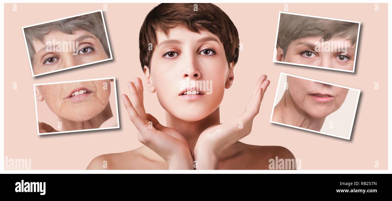 Anti-invecchiamento, un trattamento di bellezza, invecchiamento e la gioventù, sollevamento, skincare, chirurgia plastica concetto. Immagini Stock