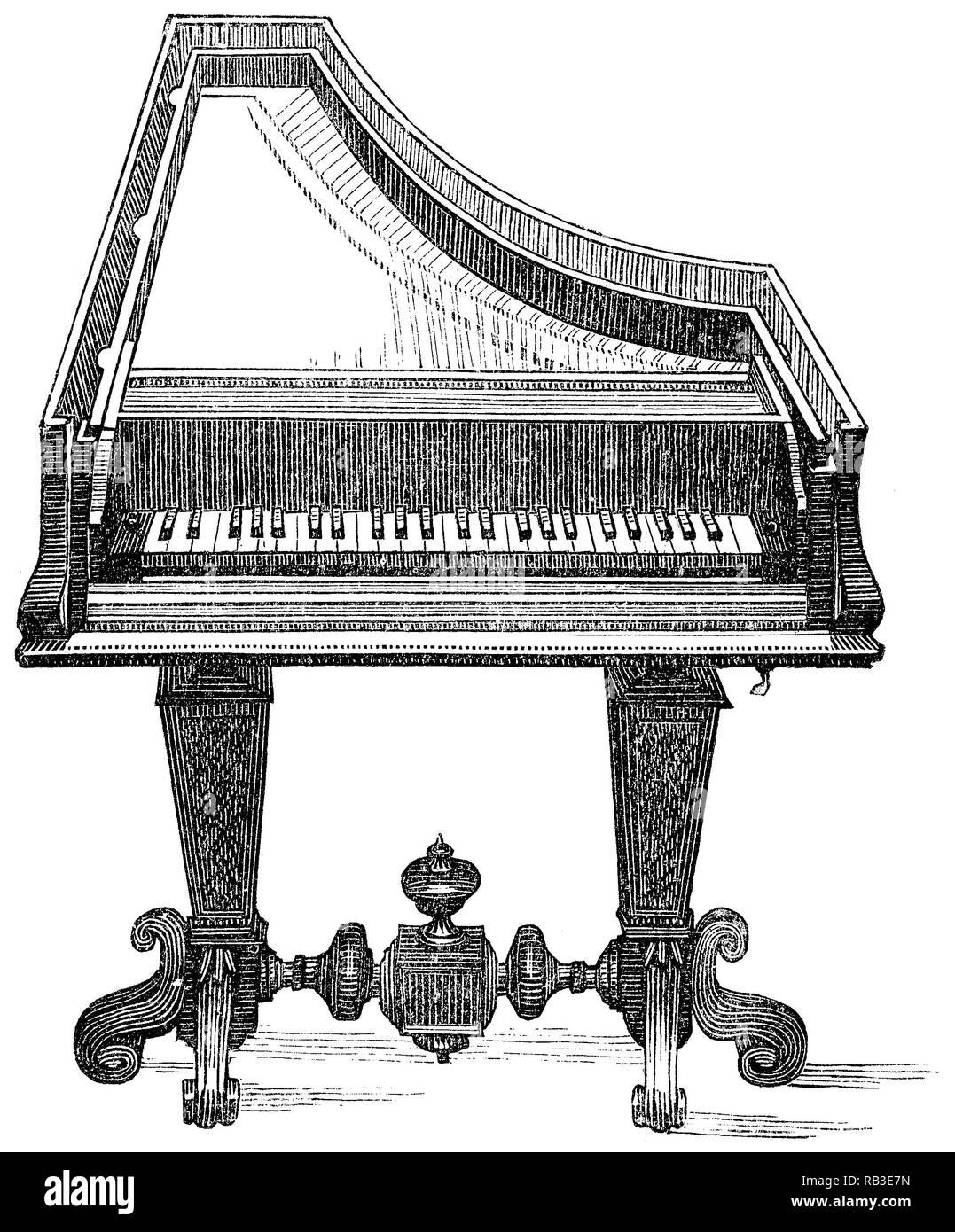 1884 l'incisione di un inizio di pianoforte dal suo inventore, Bartolomeo Cristofori di Francesco. Immagini Stock