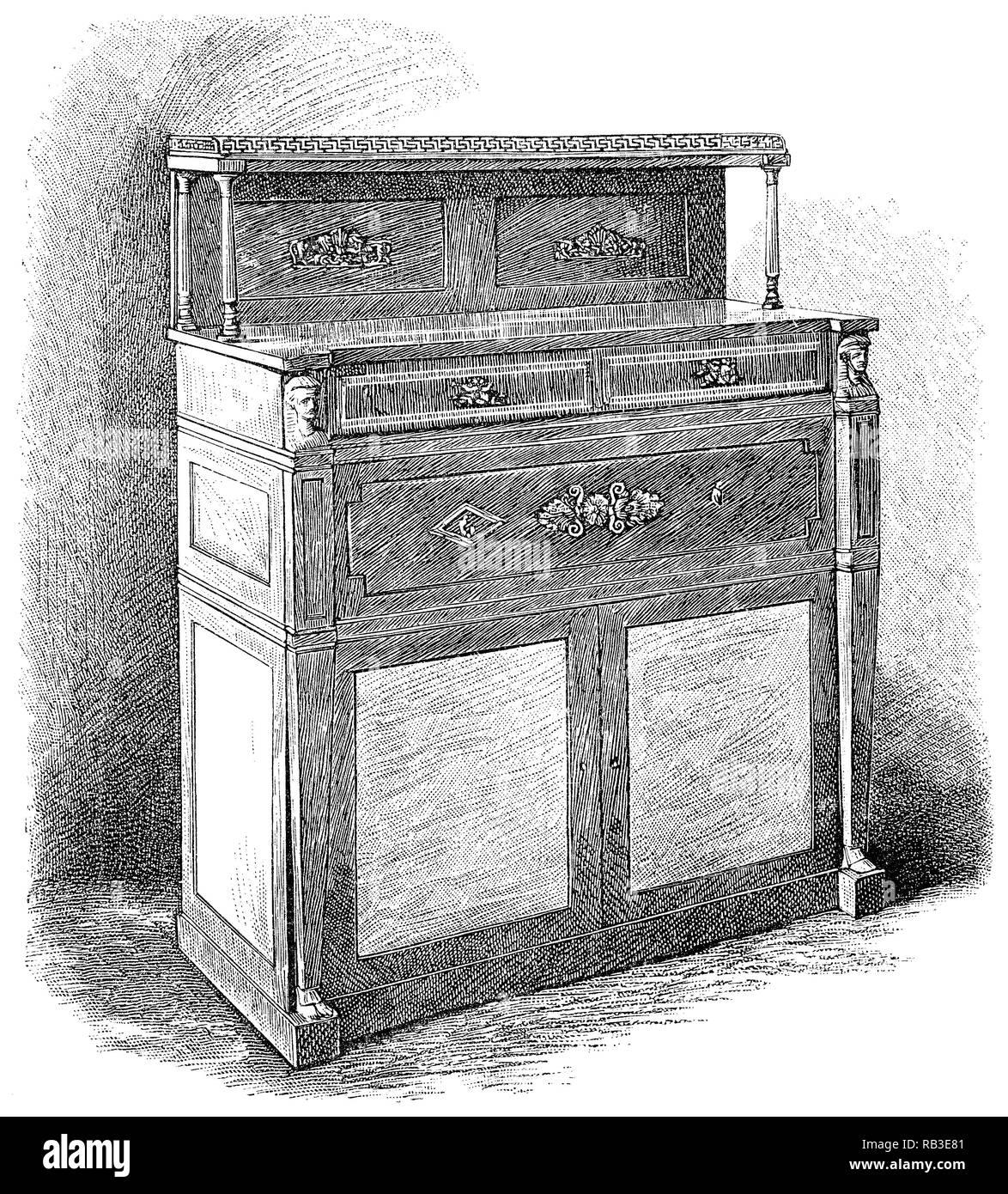 1884 incisione di un pianoforte verticale inventato da John Isaac Hawkins nel 1800. Immagini Stock