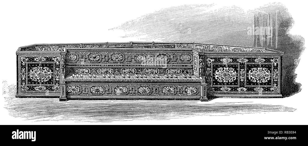 1884 incisione di un verginale realizzato da Annibale Rossi a Milano nel 1577. Attualmente nella collezione del Victoria and Albert Museum di Londra. Immagini Stock