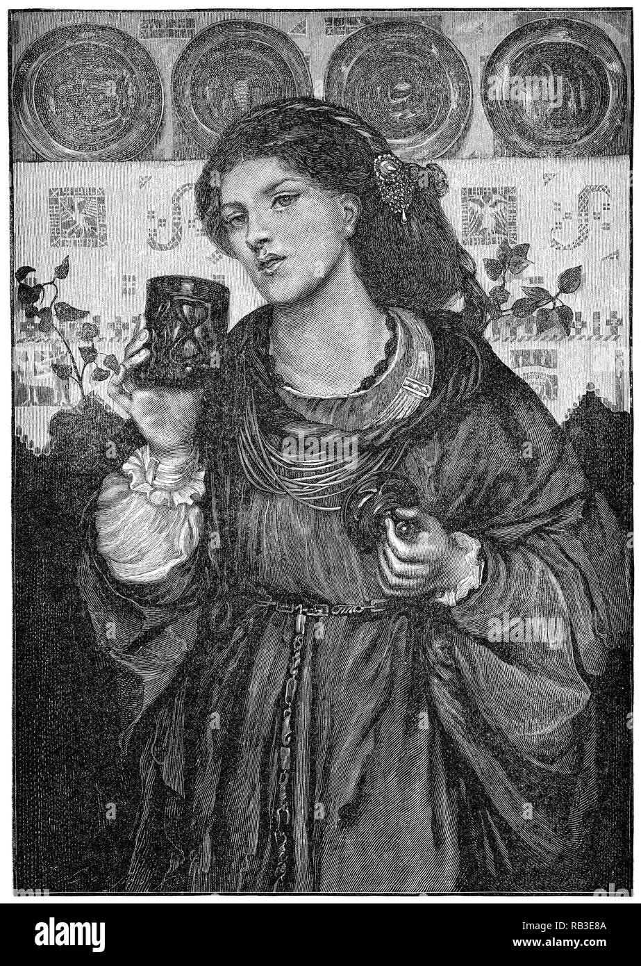 1884 Incisione del 1867 pittura l amorevole Tazza da Dante Gabriel Rossetti. Il modello è Alexa Wilding. Incisi da James Davis Cooper. Immagini Stock