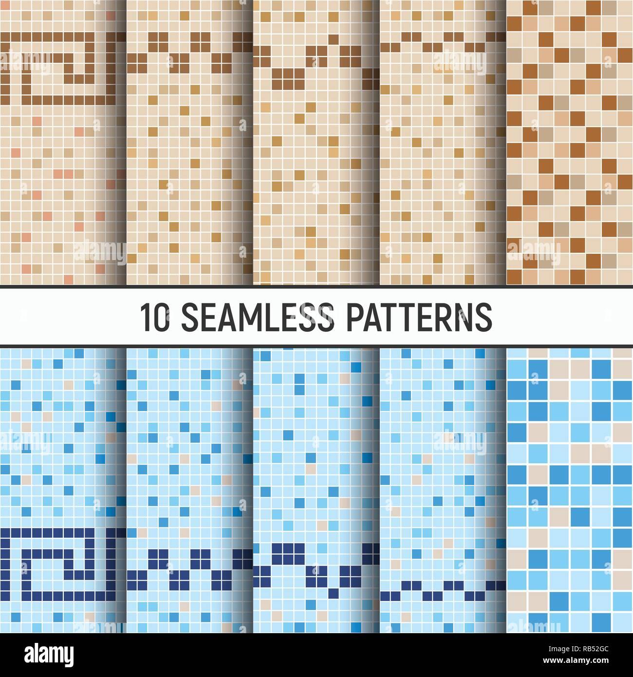 Set Di Dieci Seamless Modelli Di Colore Blu Beige Marrone