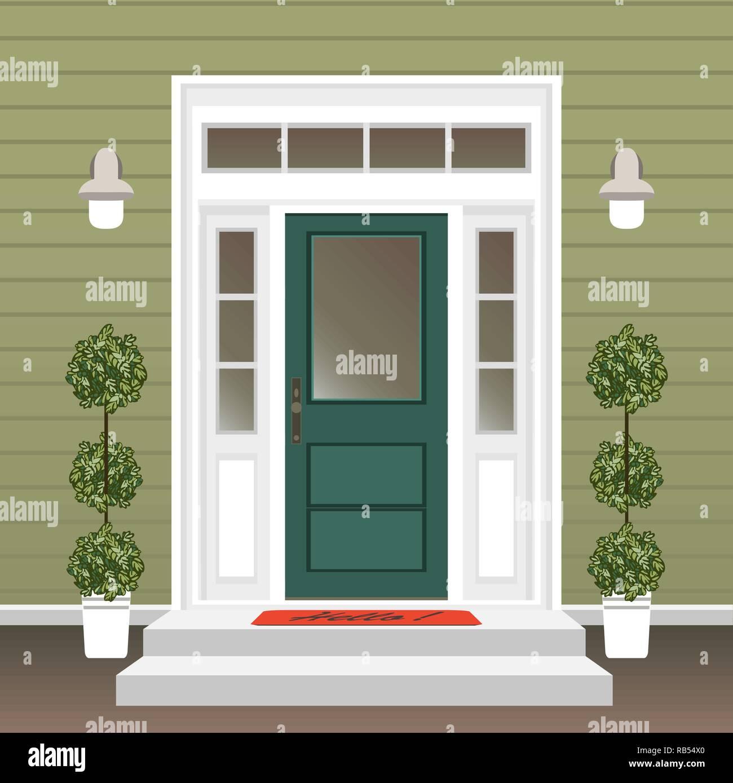 Porta Finestra Ingresso Casa casa porta anteriore con porta e mat, fasi, finestra