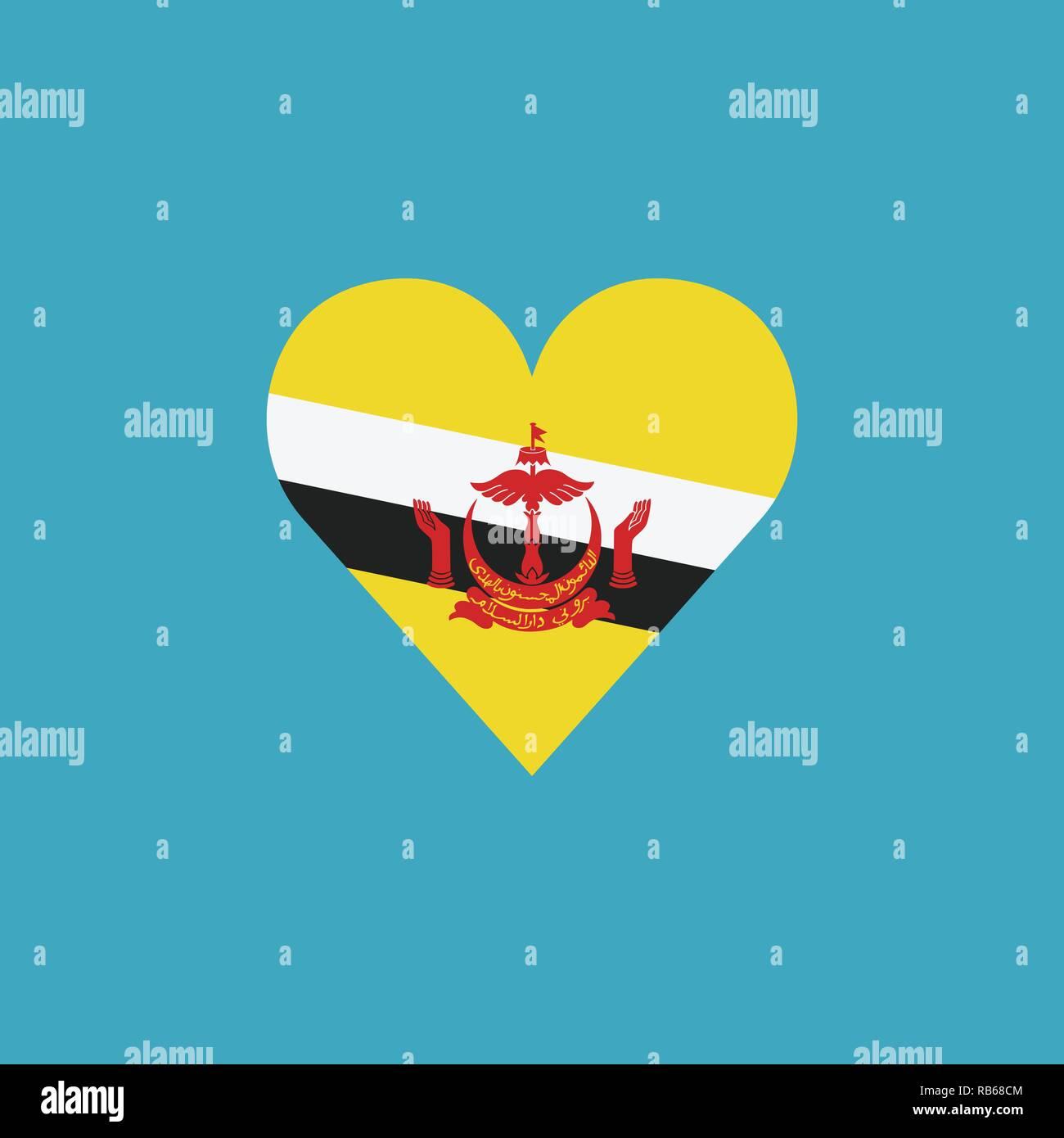 Brunei bandiera icona a forma di cuore, in design piatto. Giorno di indipendenza o giornata nazionale il concetto di vacanza. Immagini Stock