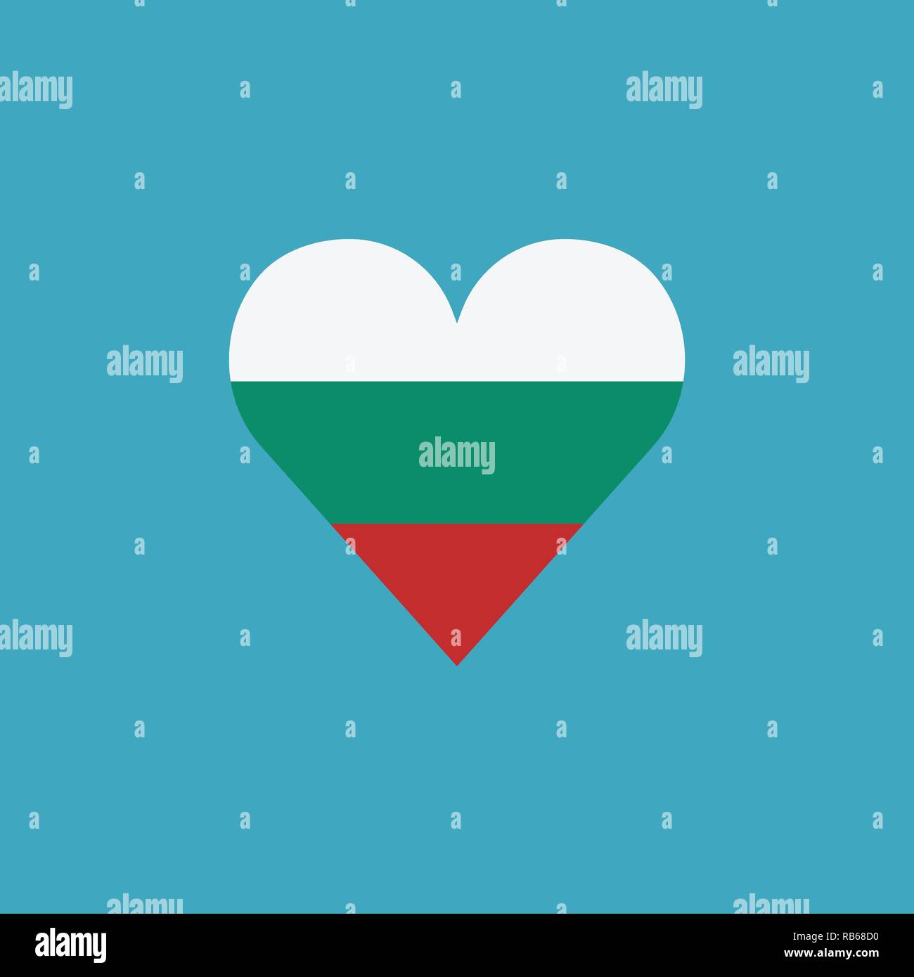 La Bulgaria bandiera icona a forma di cuore, in design piatto. Giorno di indipendenza o giornata nazionale il concetto di vacanza. Immagini Stock