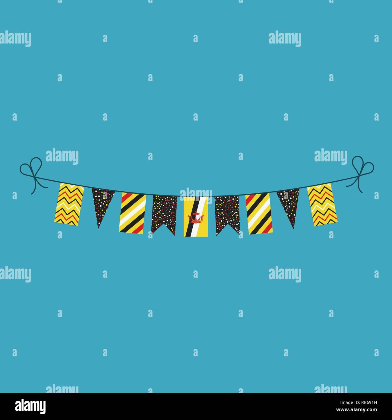 Decorazioni bunting flags per il Brunei giornata nazionale vacanze in appartamento di design. Giorno di indipendenza o giornata nazionale il concetto di vacanza. Immagini Stock