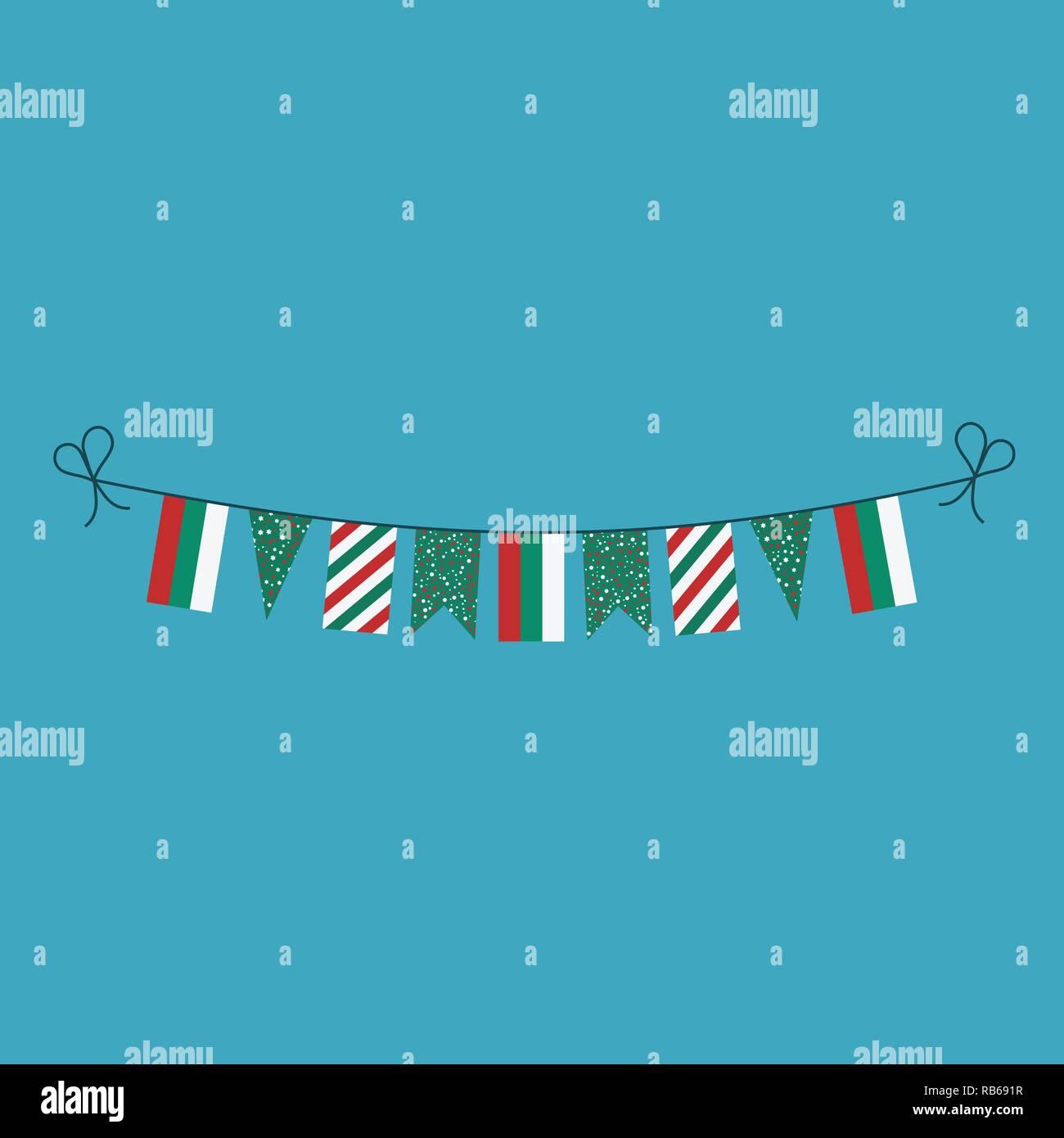 Decorazioni bunting flags per la Bulgaria il giorno nazionale vacanze in appartamento di design. Giorno di indipendenza o giornata nazionale il concetto di vacanza. Immagini Stock