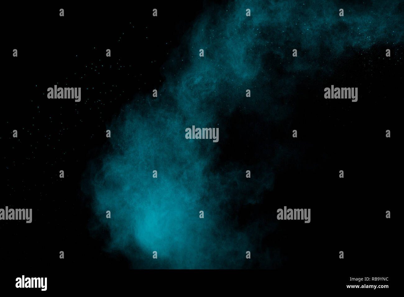 Verde Blu Esplosione Di Polveri Su Sfondo Nero Bloccare Il