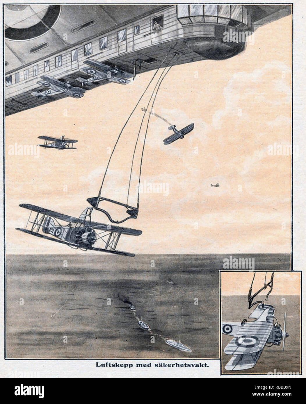 Dirigibile lancia un aeromobile un concetto di fantasia in una rivista svedese del 1925. Nota la minipala sottocarri sul biplani. Immagini Stock