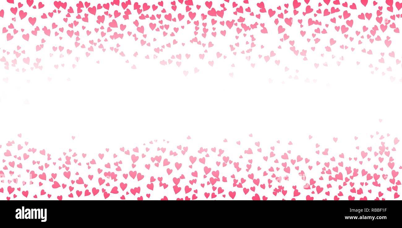 Sfondo orizzontale della caduta dei cuori e il luogo per il testo. Valentines Day card modello. Illustrazione Vettoriale. Immagini Stock