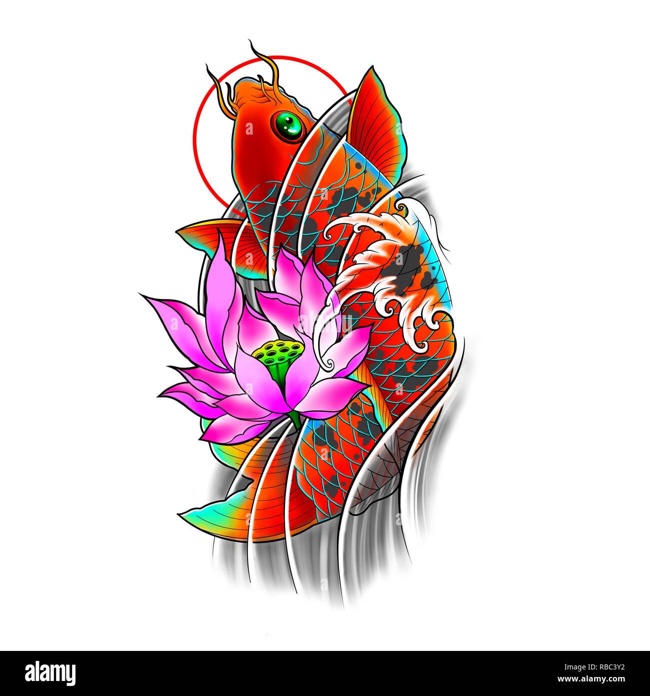 Disegnato A Mano I Pesci Koi Con Fiori Di Loto E Acqua Wave