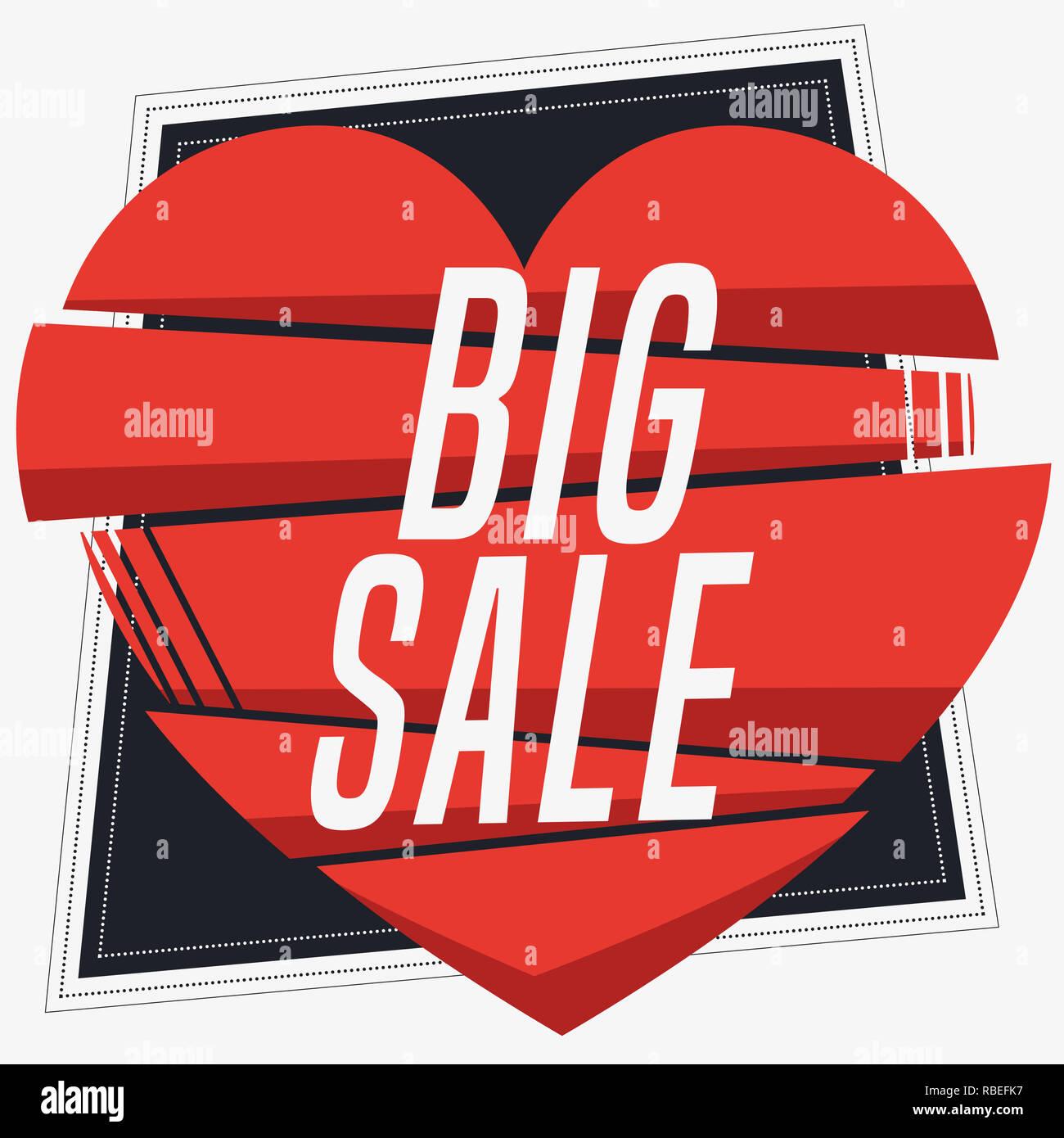 Piazza grande vendita banner in stile vintage. Composizione con forma geometrica. Illustrazione Vettoriale. Immagini Stock