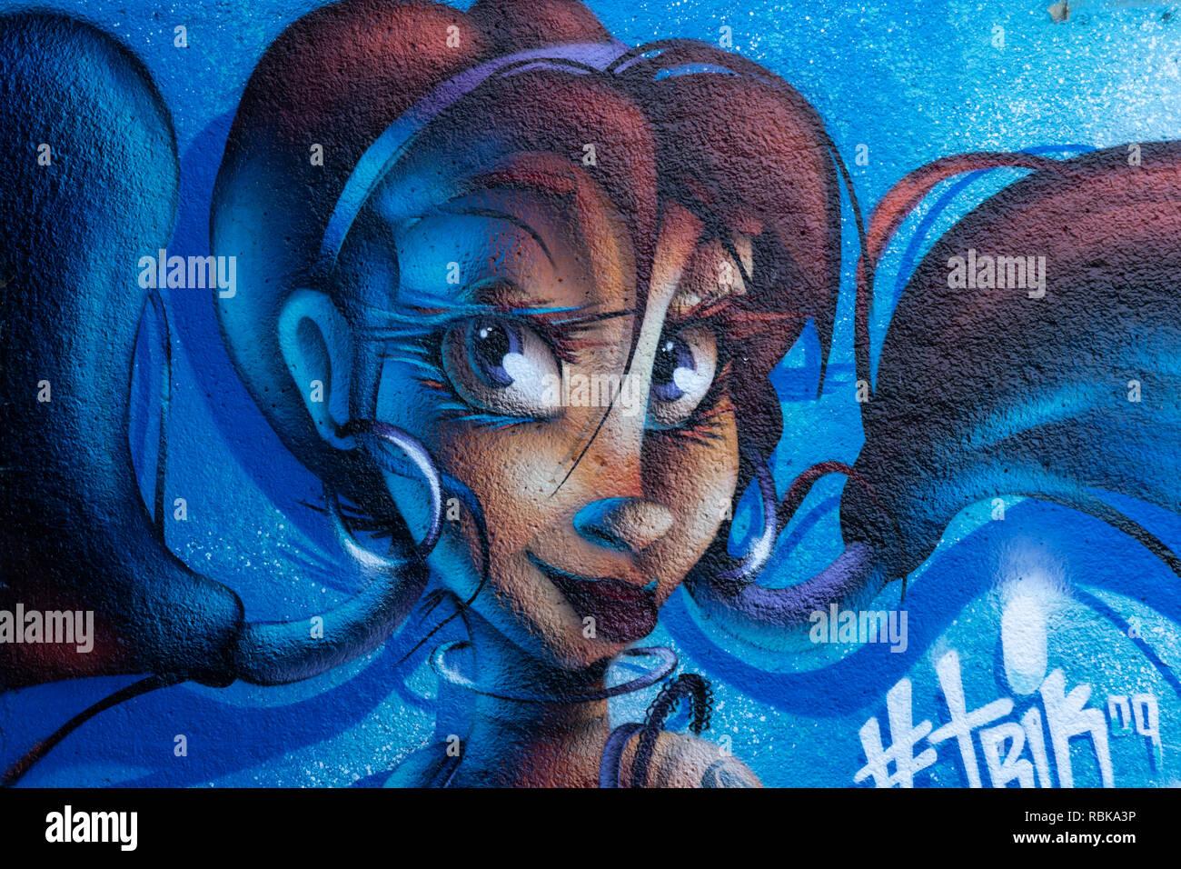 Cartone animato come spray viso donna dipinto su un muro lungo un canale a Leeds, West Yorkshire, Inghilterra. Foto Stock