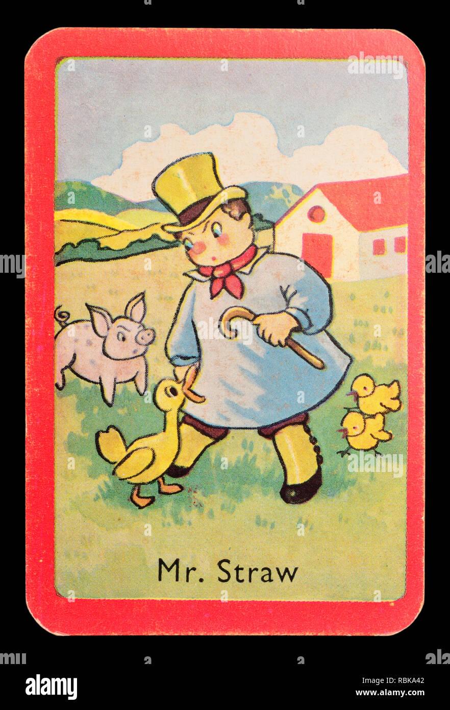 Carta da un Noddy snap gioco di scheda (1955) - il Ministro Straw Immagini Stock
