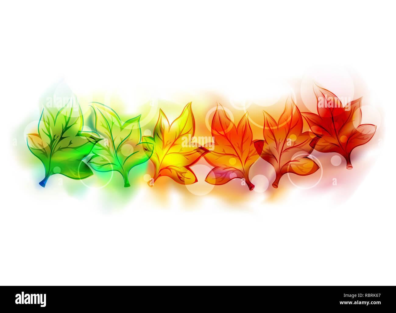 Illustrazione di foglie di autunno con colori variabili da verde a giallo ad arancione ed a rosso eps10 Immagini Stock