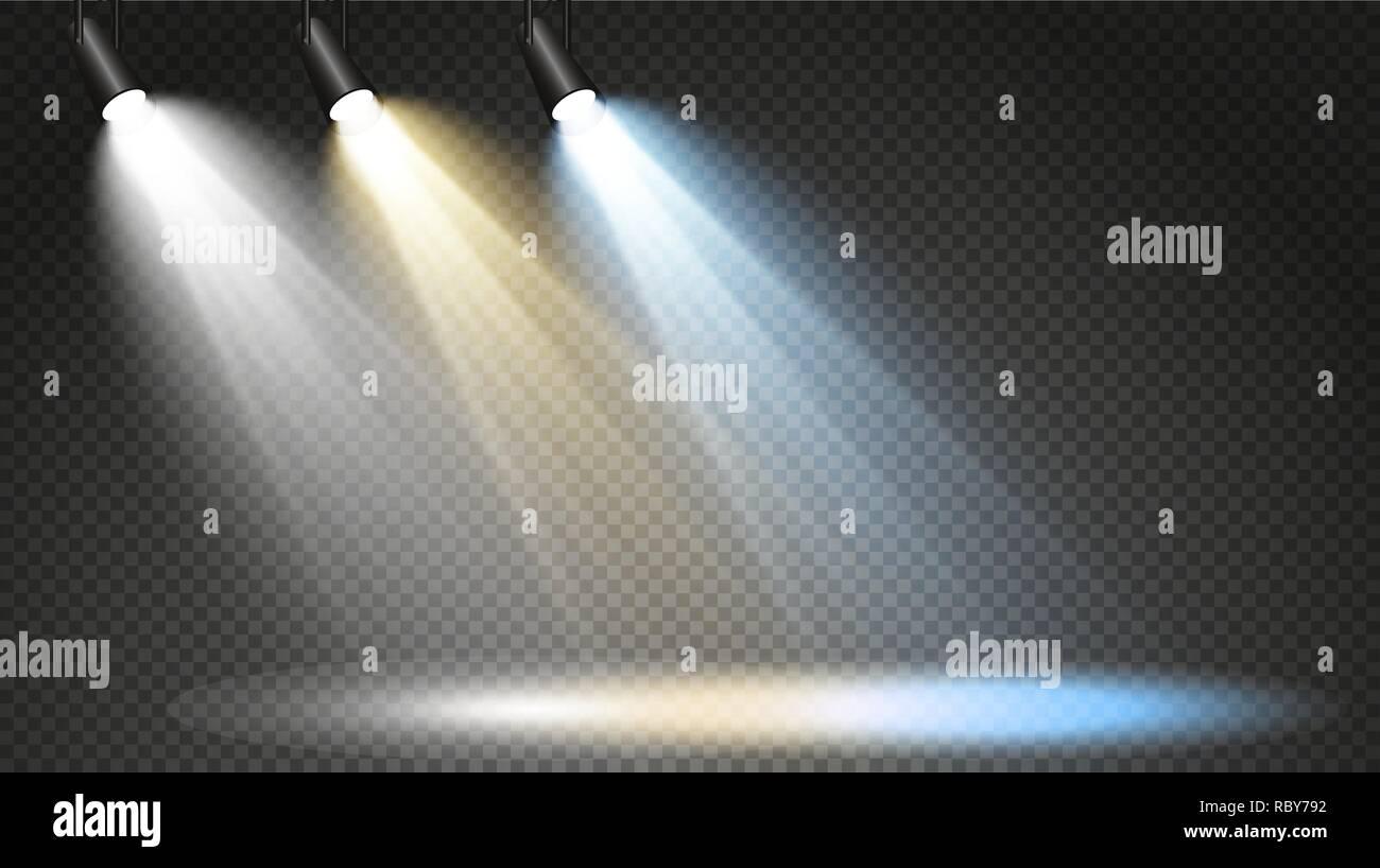 Serie di proiettori colorati su uno sfondo trasparente forte