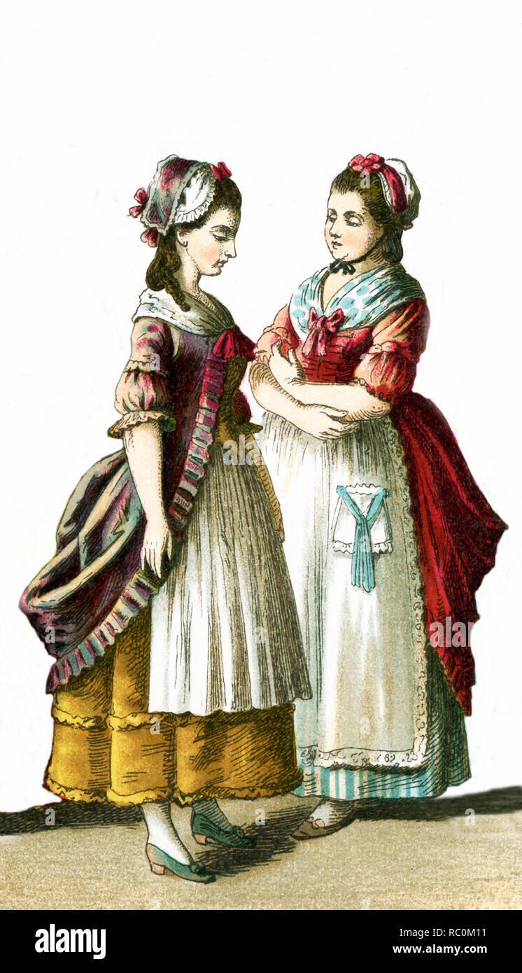 Le figure foto qui sono due femmina i cittadini tedeschi nel 1700. Questa illustrazione risale al 1882. Immagini Stock