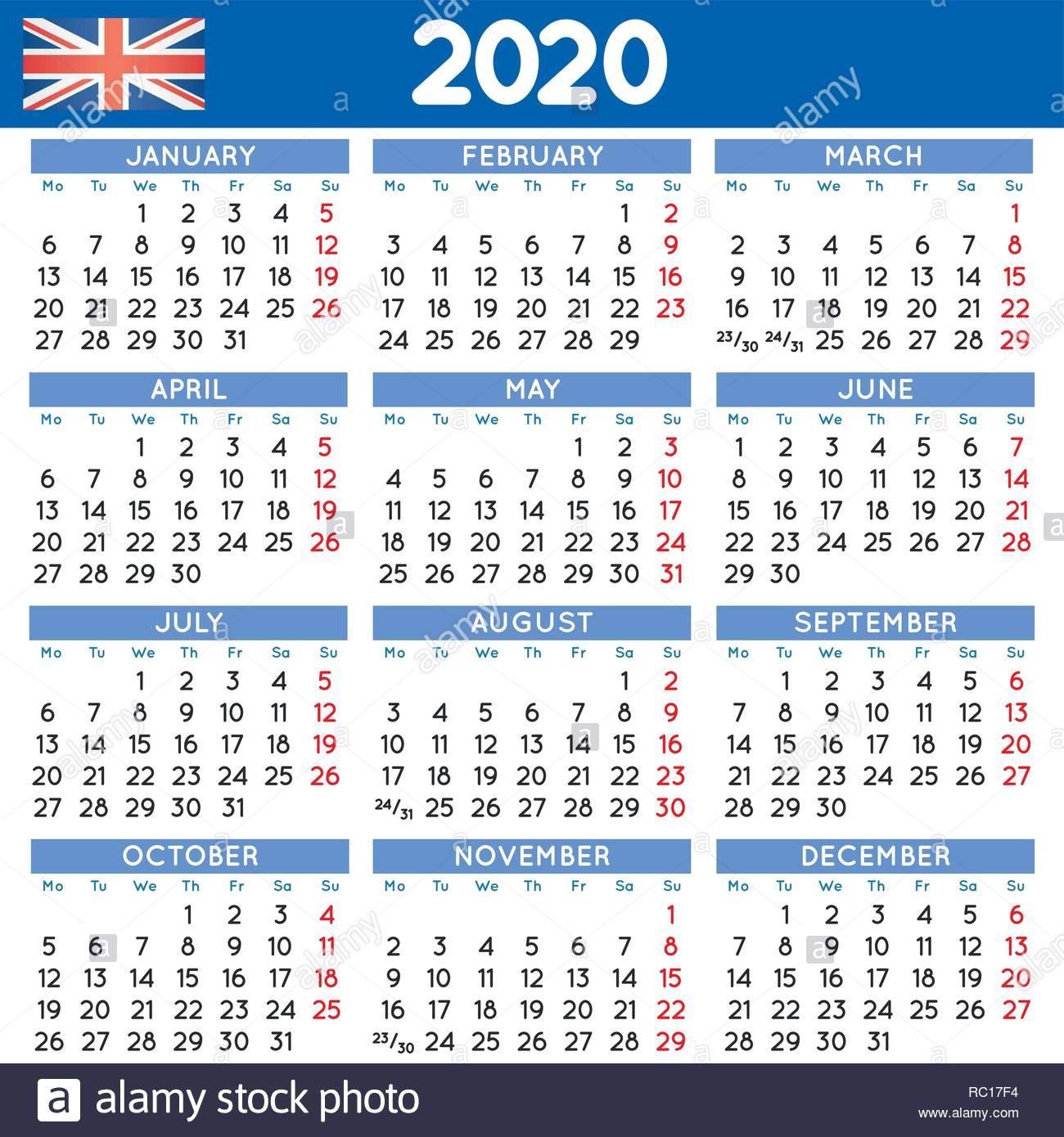 Calendario Anno 2020.2020 Elegante Calendario Squadrato In Inglese Britannico
