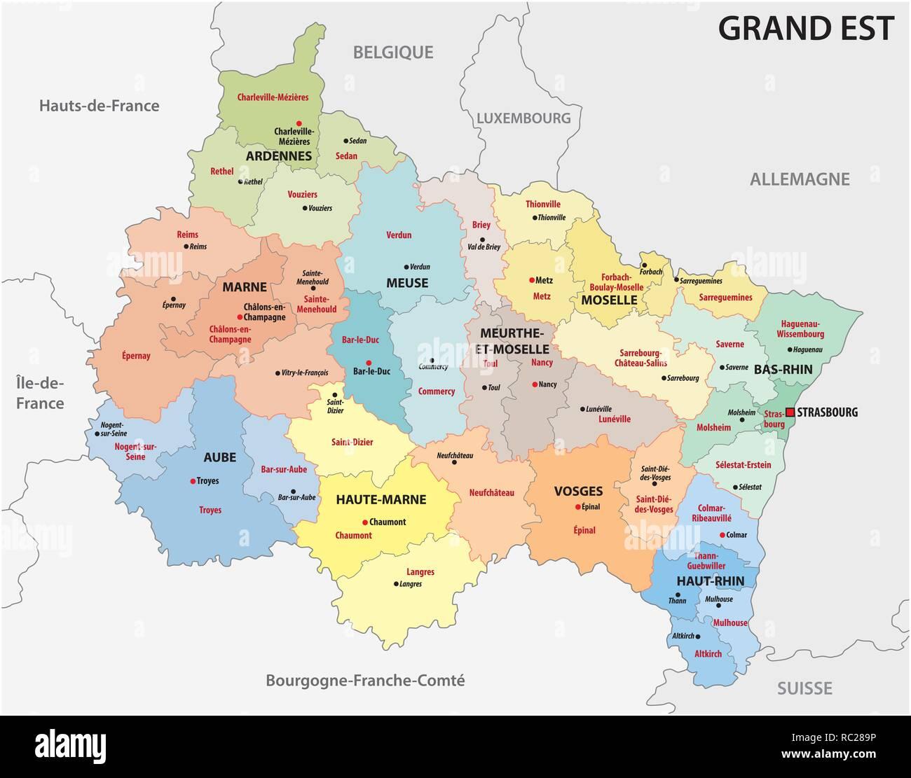 Regioni Francia Cartina.Mappa Amministrativa Della Nuova Regione Francese Grand Est Immagine E Vettoriale Alamy