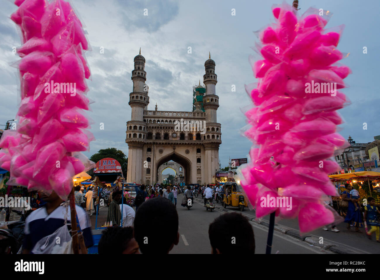Una vista di Charminar a Hyderabad. Immagini Stock