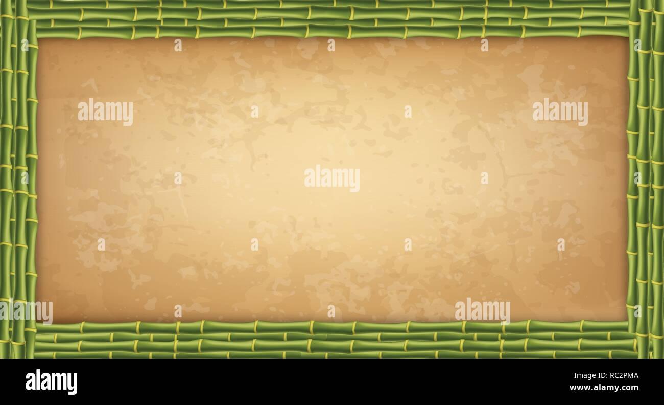 Telaio in legno fatti di bambù verde bastoni con altamente dettagliata carta vintage vuote o tela. Indossato il papiro modello vecchio grungy poster con spazio per te Immagini Stock