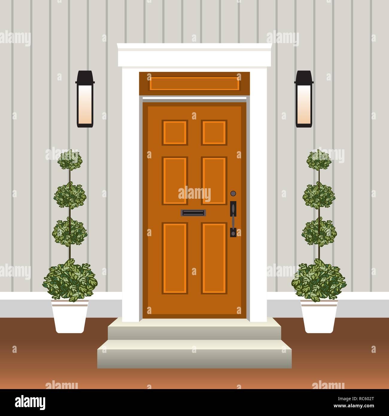 Porta Finestra Ingresso Casa casa porta anteriore con porta e passaggi, finestra, lampada