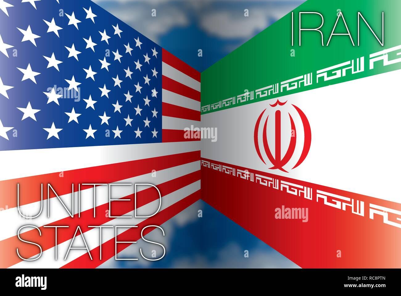 Stati Uniti d'America contro l'Iran bandiere, illustrazione vettoriale Immagini Stock